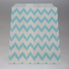 Light blue Chevron Party bitty bags Set of 25/ Γαλαζια ζικζακ χαρτινα σακουλακια Σετ των 25